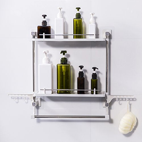 - FFCAT Bathroom Shelf No Drilling 2 Tiers with Towel Rack and Hooks Kitchen Storage Organizer Adhesive Suction Shower Shelves Caddy (Nordic Style)