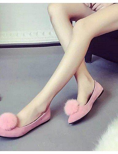 Pink ShangYi Scamosciato Donna Casual Ballerina A libero Rosa Scarpe Nero Piatto Tempo punta Ballerine Cr6wUOCq