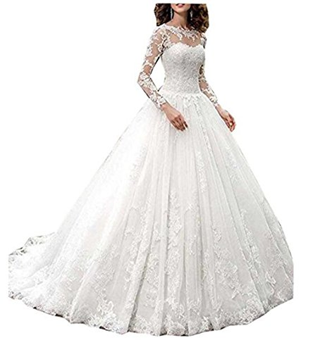 (GBWD Women's Wedding Dresses Lace Long Sleeves Backless Wedding Bridal Gowns Plus Size White)