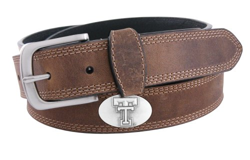 Tech Red Raiders 4 Light - NCAA Texas Tech Red Raiders Light Crazyhorse Leather Concho Belt, Light Brown, 40-Inch