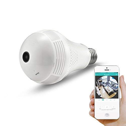 360° Panoramic View WiFi IP Bulb Camera with FishEye Lens 360 Degree 3D VR Panoramic View Home Security CCTV Camera Wirelss Security Camera (960P) by EVERSECU