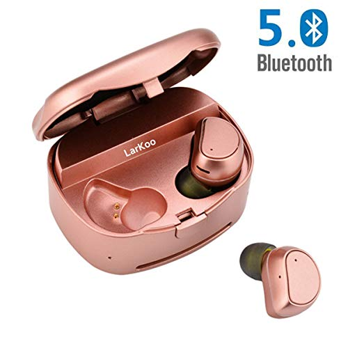 - LarKoo Wireless Double Twins in-Ear Bluetooth 5.0 Earbuds Headphones with Charging Box Noise Mic Cancelling Sweatproof Earphones Headset for iOS, Android Phones,[New Update] (Pink)