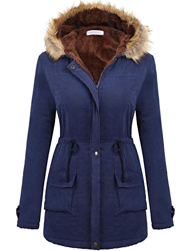 Macr&Steve Winter Coats for Women, Military Hooded with Faux Fur Trim Winter Jacket Zip-Up Front