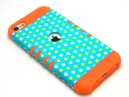 CellPhone Trendz Hybrid 2 in 1 Case Hard Cover Faceplate Skin Orange Silicone and Yellow White Blue Light Polka Dots Snap Protector for Apple iPod iTouch 5 (5th Generation)