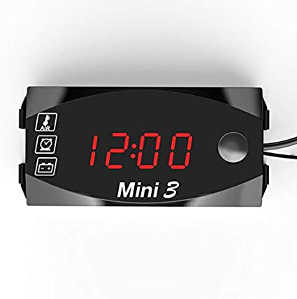MASO 4 In 3 LED Car Digital Outdoor Indoor Clock LED Voltage Indicator Voltmeter Thermometer