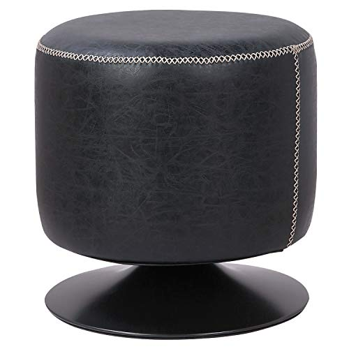 (New Pacific Direct 9300034-240 Gaia PU Leather Round Ottoman Ottomans & Cubes, Vintage Black)