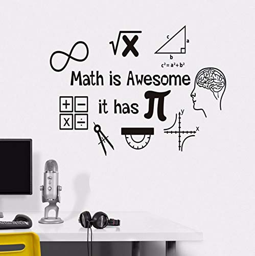 (EASTONE Math is Awesome Wall Decor Thinking Sticker for Wall Calculator Decals Vinyl Decorations Interior Home Design Art Murals 57X77CM)