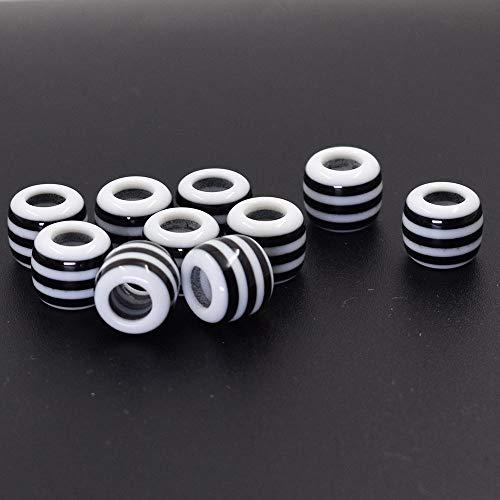 Calvas New 30pcs 12mm Mix Black and White Stripe Zebra Color Big Hole Resin Beads Fit European Bracelet DIY
