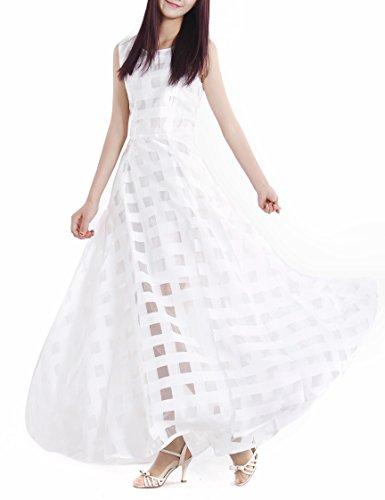 Mince Robe De Plage Femmes Afibi Partie Casual Robes Maxi Longue Blanc
