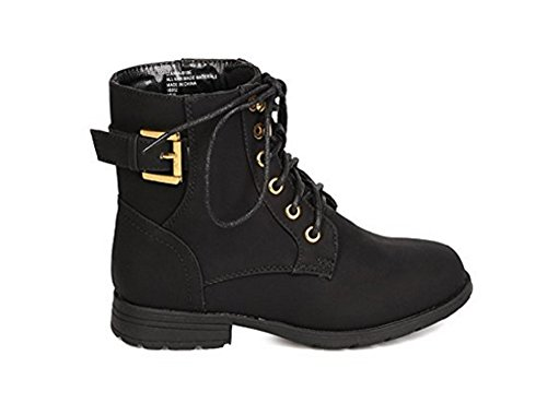 J'aime Aldo Little Girls Military Style Lace-Up Combat Dress Boots