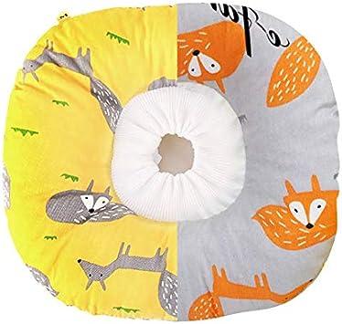 ASFINS Collar Isabelino Gato, Collares Recuperación Gatos Cuello Mascota Collar Recuperación Protector para Anti-mordida, Circunferencia del Cuello 16-30CM, Patrón de Zorro, Amarillo y Gris (M)