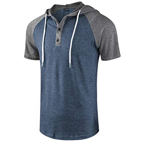 (Moomphya Men's Jacquard Knitted Casual Short Sleeve Raglan Henley Jersey Hoodie T Shirt (A1 Gray/Blue SL, Large))