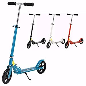 Ancheer Adult Teen Kick Scooter Portable Foldable Height-Adjustable | Ultra-Lightweight Easy Fold-n-Carry 2 Big Wheels Commuter Scooter for Kids Age 13 Up | 200 lbs Weight Capacity (Upgrade-: Blue)