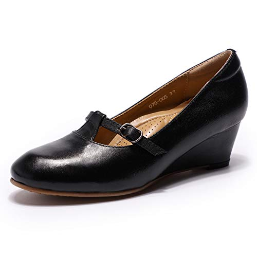 Mona flying Women's Leather Round Toe Wedge Heel Pumps Mary Jane Shoes for Womens Ladies