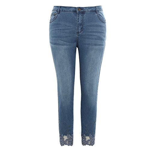 MSSHE Women's Casual Lace Embroidered Skinny Ankle Jeans Pants Plus Size
