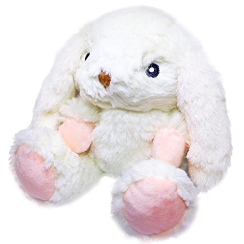 Handled Hug (Soft Plush Toy with Hot and Cold Therapy - Insert Scented with Natural Chamomile & Lavender ~ Microwaveable and a Reusable Cold Pack (Medium, White Rabbit))