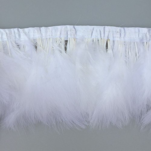 White Trim Marabou - KOLIGHT Pack of 2 Yards Natural Turkey Marabou Feather Trim Fringe 6-8 inch in Width DIY Decoration (White)