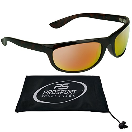 TAC Polarized Sunglasses with Anti Reflective Orange Mirrored Lenses and Tortoise Shell Brown Frames for Men and Women. Free Microfiber Cleaning Case with Drawstring.