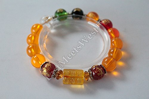 Ladies' Chinese Consecrated Kai Guang Blessed Mixed Colored Nature Crystal 5 Elements Bracelet Bangle Feng Shui Protection Amulet