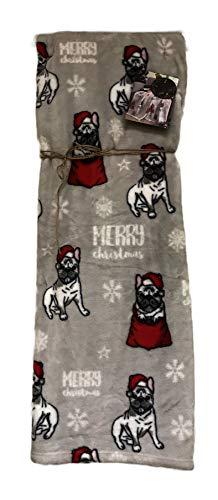 "Mistletoe & Co Merry Christmas Santa Frenchie Dog Soft Decorative Holiday Plush Throw Blanket 60"" x 70"""