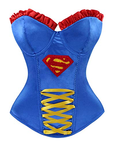 Lusiya Women's Halloween Wonder Heroine Costume Cosplay Party Overbust Corset Top Blue/Yellow -