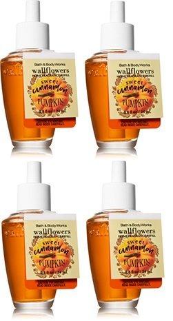 Bath and Body Works 4 Pack Sweet Cinnamon Pumpkin Wallflowers Fragrance Refill. 0.8 Oz.