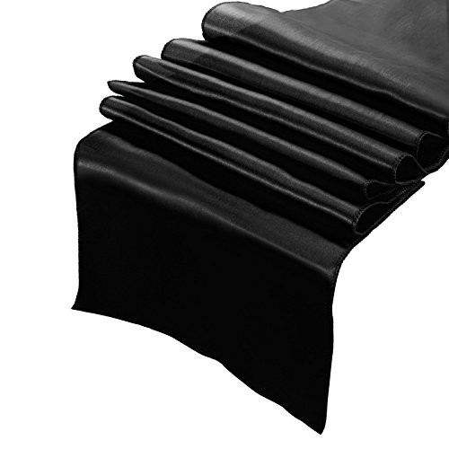 CCTRO Pack of 10 Satin Table Runner, Bright Silk and Smooth Fabric Wedding Party Bridal Shower Babe Shower Dining Table Decoration 12x108 inches (Black) (Runner Black Table)