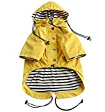 Morezi Dog Zip Up Dog Raincoat with Reflective Buttons, Rain/Water Resistant, Adjustable Drawstring, Removable Hood, Stylish Premium Dog Raincoats - Size XS to XXL Available - Yellow - XXL
