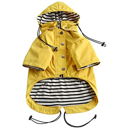 Morezi Dog Zip Up Dog Raincoat with Reflective Buttons, Rain/Water Resistant, Adjustable Drawstring, Removable Hood, Stylish Premium Dog Raincoats - Size XS to XXL Available - Yellow - XS