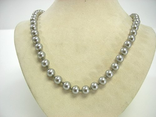 (Victoria Creations Necklace 8mm Faux Gray Pearl Strand 24