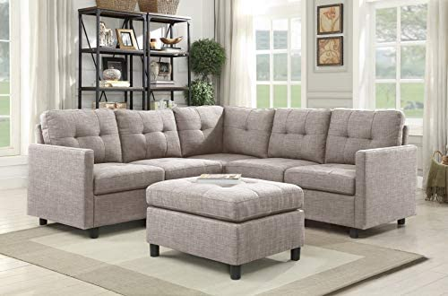 Sectional Couches Ottoman Set 5 Seater Modular Corner Sectional Living Room Furniture Sets Reversible L Shape Couch Set Closet Couch for Small Room, Light Gray