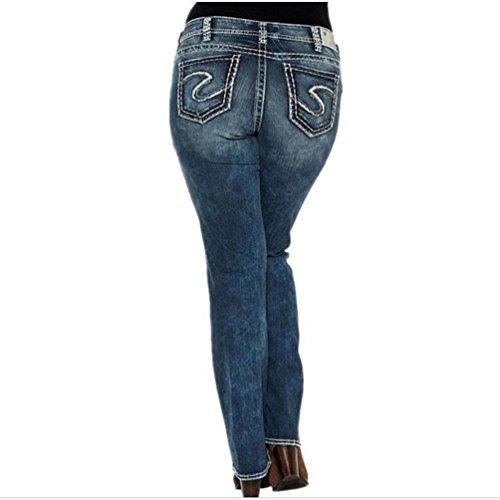 Casual A Scuro Jeans Elasticizzati Donna Dimensioni Moda Grandi Skinny Dritti Di Blu Alta Wanyang Pantaloni Vita tqEwqna1