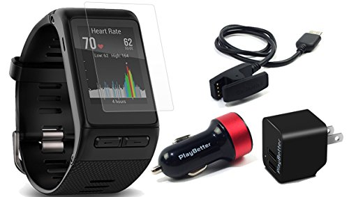 Garmin vivoactive HR (Regular) Multi Sport GPS Smartwatch Bundle with HD Screen Protectors (6 Pack), PlayBetter USB Wall & Car Charging Adapters | Touchscreen with On Wrist Heart Rate