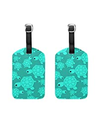 WIHVE - Etiquetas para veliz (2 unidades), diseño de tortuga marina, color turquesa