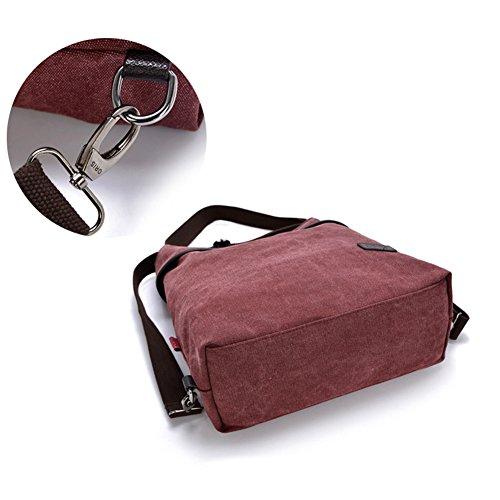 Vino la cruzados de múltiples del hombro Majome viaje la de casuales Bolsos de de Bolso mochila funciones la Rojo lona lona de RFAxwv