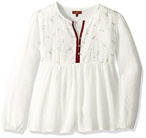 Woven Blouse Embroidered - 7 For All Mankind Kids Girls' Little Woven Blouse, Marshmallow 6X