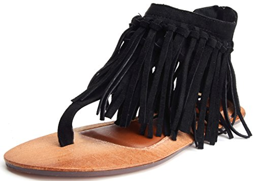 Odema Womens Flat Sandals Thong Sandals Faux Suede Tassel Zip T-Strap Sandals