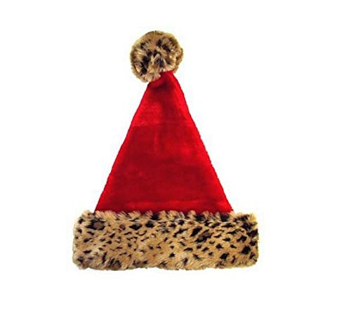 Christmas House Leopard Santa Hat - Holiday Helper Sexy Costumes
