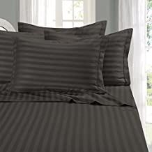 Elegant Comfort Super Silky Soft-Sale-1500 Thread Count Egyptian Quality Luxurious Wrinkle, Fade, Stain Resistant 6-Piece Stripe Bed Sheet Set, King Gray