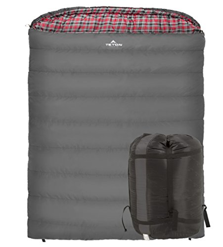 TETON Sports Mammoth +20F Queen-Size Double Sleeping Bag; Warm and Comfortable for Family -