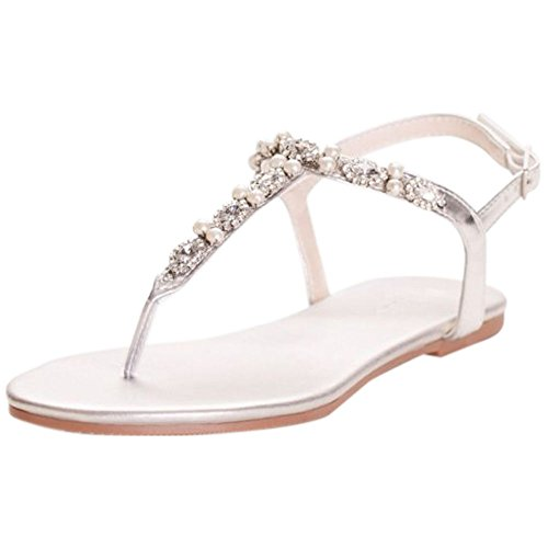 David's Bridal Pearl and Crystal T-Strap Sandals Style Sarina, Silver Metallic, 10