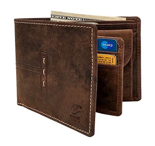 Wallet for Men-Genuine Leather RFID Blocking Bifold Wallet With Coin Pocket (Dark Brown)