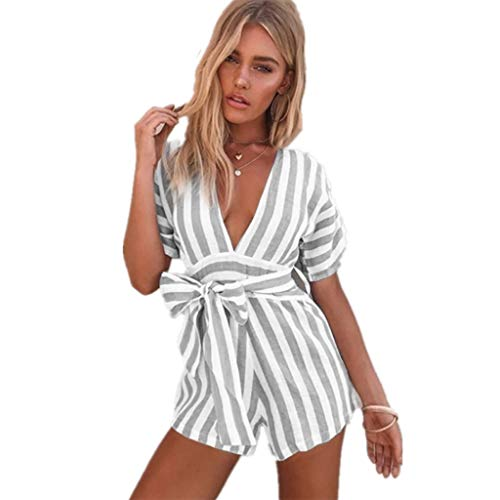 Factory Triple Tree - Aniywn Rompers for Women Summer Deep V Neck Short Sleeve Stripe Print Shorts Jumpsuit with Belt Gray