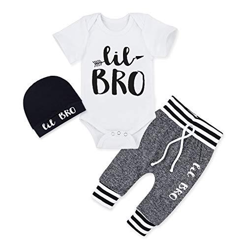 Baby Boy Clothes Newborn Infant Ontfit Short Sleeve Romper + Pants + Hat 3PCS Outfit Set