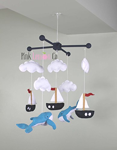 Whale baby mobile by Pinklemonco