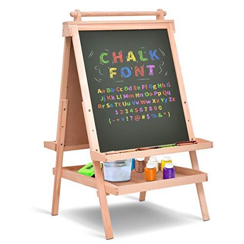 Costzon Kids Wooden Art Easel, Adjustable Double Side Standing Easel w/Paper Roll & Chalkboard ()