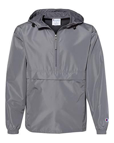 Champion Mens Packable Anorak 1/4 Zip Jacket (CO200) -Graphite -XL