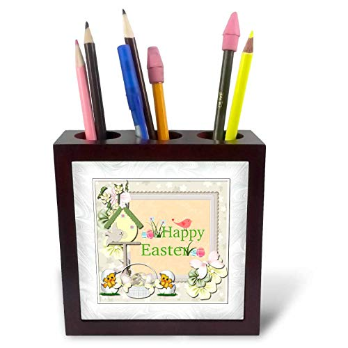 Egg Birdhouse - 3dRose Beverly Turner Easter Design and Photography - Happy Easter, Birds, Birdhouse, Eggs, Basket, Chicks and Flowers - 5 inch Tile Pen Holder (ph_302938_1)