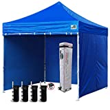 Eurmax 10 x 10 Pop up Canopy Commercial Tent Outdoor Instant Canopies Party Shelter with 5 Zippered Sidewalls and Carry Bag Bonus Canopy Sand Bags(Deep Sky Blue)