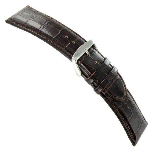 19 mm deBeer Baby Crocodile Grainブラウンパッド入りステッチ腕時計バンドストラップ  B00CON3M7E